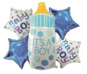 AL30 Baloy foliowe  ITS A BOY komplet 5 szt. BABY SHOWER